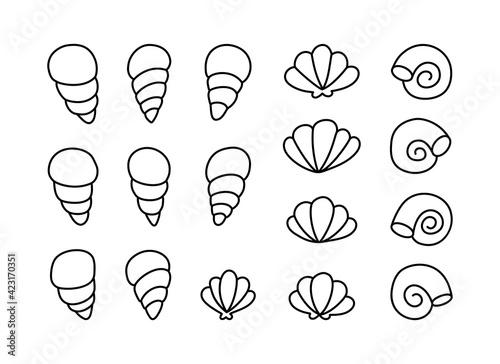 Seashell doodle icons set Fototapeta
