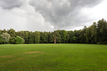 A Lush Green Glade, Surrounded By A Dense Forest, Heavy Clouds Have Thickened In The Sky And Now It Will Rain