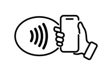 NFC Technology. Hand Holding Phone. Contactless Wireless Pay Sign Logo. Near Field Communication Nfc Payment Concept. Contact Less. NFC Payment With Mobile Phone. Credit Card