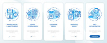 Human Being Needs Blue Onboarding Mobile App Page Screen With Concepts. Self-actualization Walkthrough 5 Steps Graphic Instructions. UI, UX, GUI Vector Template With Linear Color Illustrations