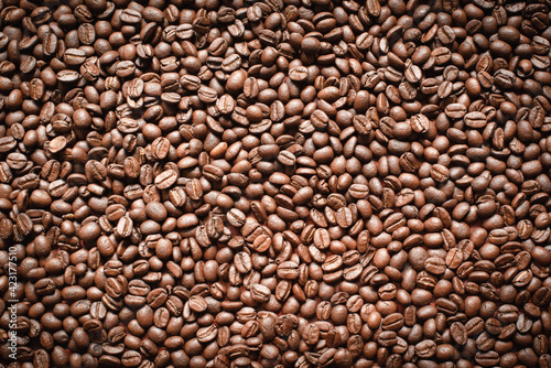Popular natural food products,freshly roasted Arabica coffee beans background Wallpaper Mural