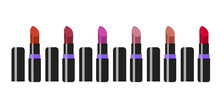 Set Of Red Lipsticks. A Collection Of Realistic Lipsticks. Vector Illustration. Wine Lipstick In A Black And Purple Case. Lip Cosmetics. Make-up.
