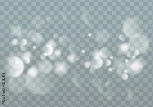 Fototapeta White sparks glitter special light effect.Sparkling magic dust particles. Glittering wave on transparent background. obraz