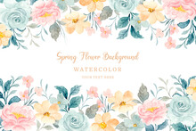 Soft Watercolor Spring Flower Background