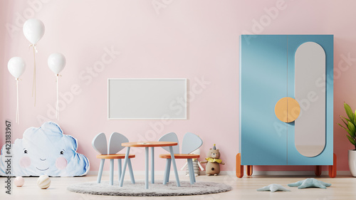 Fototapeta Blank horizontal poster frame mock up in beautiful children room interior with pink wall, colorful furniture and soft toys, kids playroom interior background, nursery, 3d rendering obraz