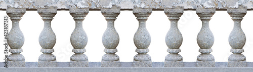 Fotografia Old classic stone italian balustrade - seamless pattern concept image on white b