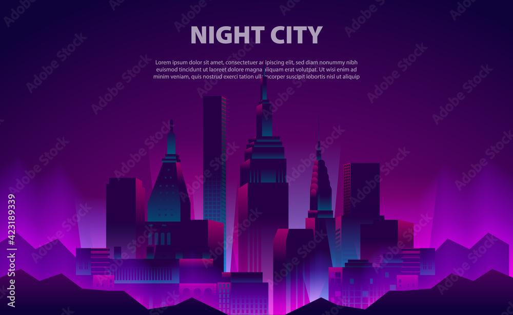 Fototapeta Illustration glow neon color night city skyscraper building with the electric light
