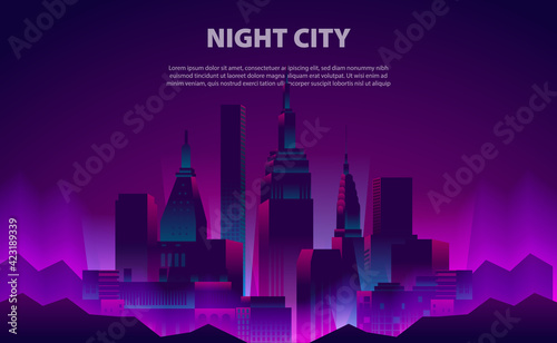 Fotografia Illustration glow neon color night city skyscraper building with the electric li