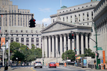 Facade Of New York State Supreme Court Building With People Around In Manhattan, New York City, USA