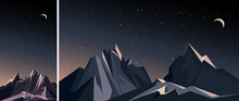 Night Mountain Landscape. Nature Scenery In Vertical And Horizontal Orientation.