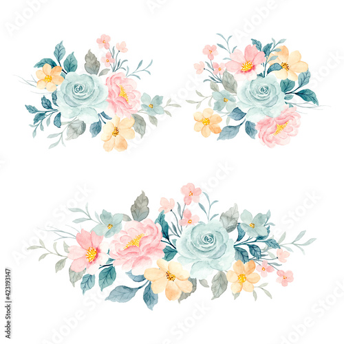 Soft watercolor floral bouquet collection Wallpaper Mural