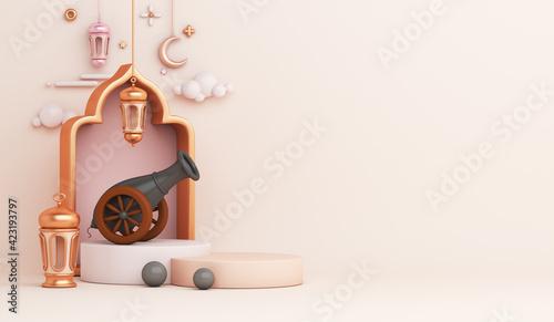 Fotografering Islamic display podium decoration background with cannon, lantern, crescent cartoon style, ramadan kareem, mawlid, iftar, isra  miraj, eid al fitr adha, muharram, copy space text, 3D illustration