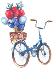 Blue Bicycle With Balloons