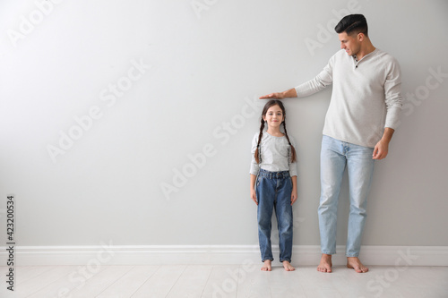 Fotomural Father measuring little girl's height near light grey wall indoors