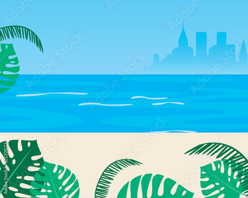Sea as a template for copy space, flat vector stock illusutazria with palm trees on the beach, sea, ocean with leaves of monstera plant Wall mural
