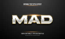 Luxury Gold And Shiny Metallic Effect Editable Text Style. Vector Editable Text Effect