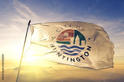 Fototapeta Huntington of West Virginia of United States flag waving on the top