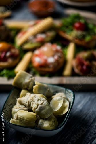 cooked artichoke hearts and vegan appetizers Tapéta, Fotótapéta