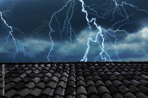 Obraz Dark cloudy sky with lightning. Stormy weather - fototapety do salonu