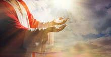 Jesus Christ Reaching Out His Hands And Praying At Sunset, Banner Design