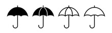 Umbrella Vector Icons Isolated On White Background. Parasol Simple Black Vector Icon. Rain, Weather, Meteorology Sign.