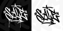 Word Sale Abstract Urban Hip Hop Hand Written Graffiti Style Vector Illustration Art