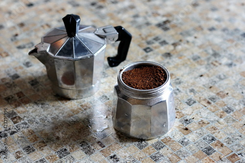 ground coffee in a metal collapsible geyser-type coffee maker Tapéta, Fotótapéta