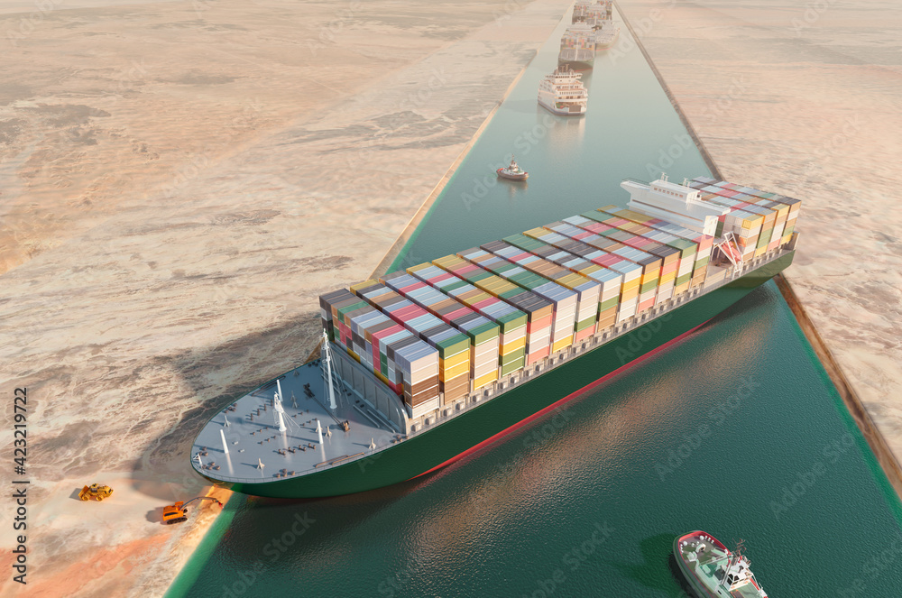 Fototapeta Maritime traffic jam. Container cargo ship run aground and stuck in Suez Canal, blocking world's busiest waterway. Ever given grounding 3D illustration. Cargo vessels traffic jam grows in Suez canal