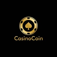 Gold Casino Coin Logo Vector In Elegant Style With Black Background For Casino Business, Gamble, Card Game, Speculate, Etc