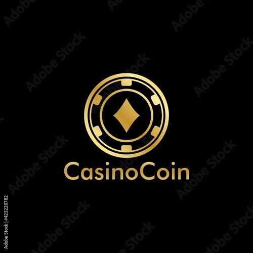 Obraz na plátně Gold Casino coin logo vector in Elegant Style with Black Background for casino b