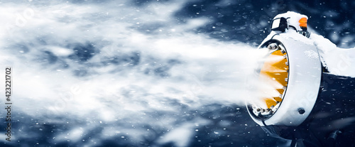 Billede på lærred Snow cannon in winter snowy background