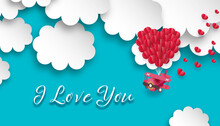 I Love You Message On Paper Cut Sky, Air Plane  And Hearts On Blue Background. Love Card Design. 3d Illustration.