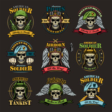 Army Emblems Set. Military Labels Template With Skulls In Pilot Helmets Or Soldier Hats, Air Force Eagle Wings, Text And Ribbons. Colored Vector Illustrations Isolated On Black Background