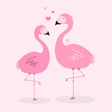"Two Pink Flamingos On A Pink Background With Three Hearts And The Inscription ""true Love"""
