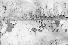Rusty Old Metal Texture With Peeling Paint As Abstract Background.