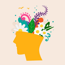 Mental Health Concept. Abstract Image Of A Head With Flowers Inside. Plants, Flower And Leaves As A Symbol Of Inspiration, Calmness, Favorable Mental Behavior. Vector Hand Drawing Illustration.