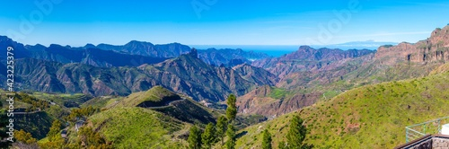 Pico de Teide viewed behind mountainous landscape of Gran Canaria, Canary Islands, Spain.