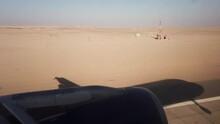 Plane Landing On Desert Airport  In Hurghada, Egypt.