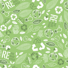 Earth Day Seamless Pattern Design. Vector Illustration Composed From Many Ecology Theme Symbols.