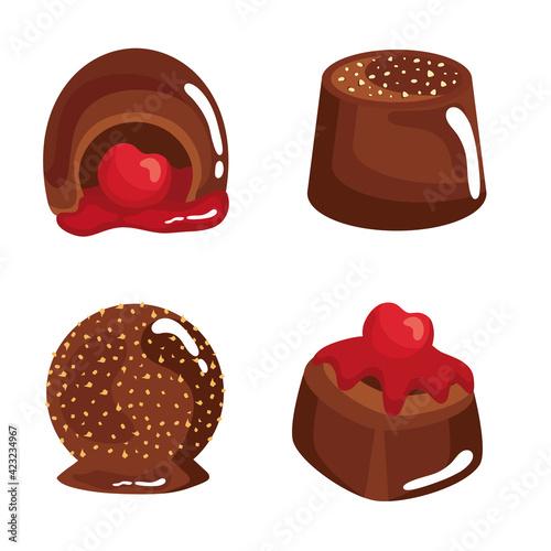 Fotografie, Obraz four chocolates candies