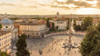 Rome. View toward the Piazza del Popolo and Saint Peter's at sunset from the Pincio.
