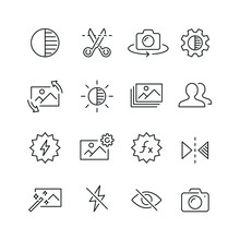 Photo Editing Related Icons: Thin Vector Icon Set, Black And White Kit
