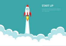 Vector Of Rocket Ship Launch. Concept Of Start Up, Business Product On Market, Growth, Creative Idea.