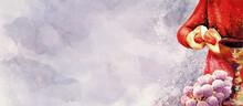 Eucharist. Holy Thursday. Watercolor Christian Banner