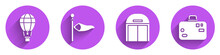 Set Hot Air Balloon, Cone Meteorology Windsock Wind Vane, Aircraft Hangar And Suitcase Icon With Long Shadow. Vector