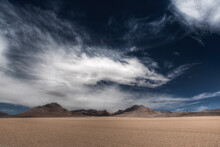 The Dali Desert In SW Bolivia Is Vast And Filled With High Volcanoes.