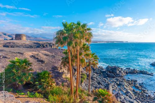 Canvas El Toston castle at El Cotillo village at Fuerteventura, Canary islands, Spain