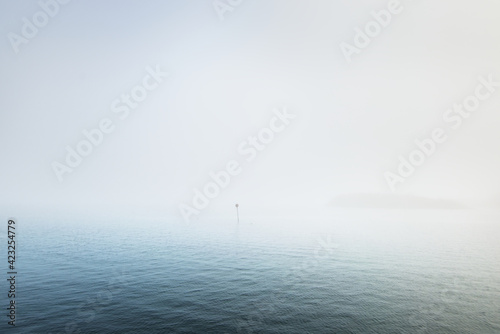 Fototapeta Panoramic view of the North sea in a fog