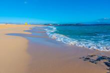 Playa Del Moro At Corralejo Sand Dunes At Fuerteventura, Canary Islands, Spain