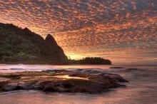 Sunset At Ha'ena Beach On The North Shore Of Kauai In The Hawaiian Islands